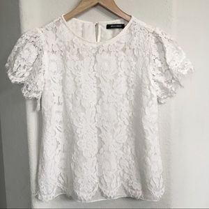 White Floral Off-White Lace Top